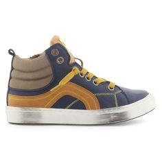 Baskets à lacets en cuir bleu marine  MAA - 98494