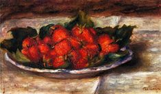 Still Life with Strawberries, Pierre-Auguste Renoir Medium: oil on canvas Pierre Auguste Renoir, Pierre Bonnard, August Renoir, Renoir Paintings, Oil Paintings, Claude Monet, French Artists, Great Artists, Famous Artists
