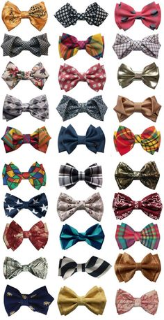 an array of bow ties for the groom and his men.