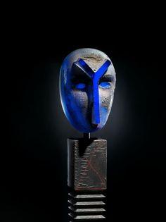 "Bertil Vallien (Swedish, 1938), Kosta Boda, ""Head"" Sand Cast Glass Sculpture with Internal Ornamentation."
