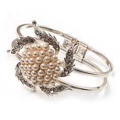 Bridal Pearl Style Flower Hinged Bangle Bracelet (Silver Tone) Avalaya. $23.40. Gemstone: faux pearl, diamante. Material: pearls. Theme: flower. Occasion: wedding, bridal, bridesmaid, prom night. Metal Finish: silver plated