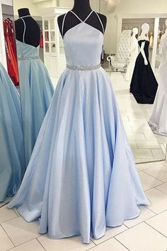 Light blue satins long A-line formal prom dresses with spaghetti straps