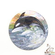 Fashion Pendant Hand Painted  Dolphin  Natural Black Lip Shell ZL302268 #ZL #Pendant