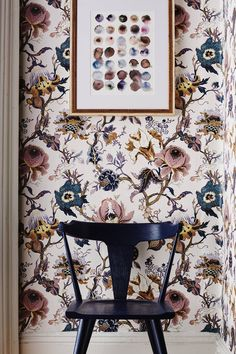 Modern Victorian Floral wallpaper Black wood chair
