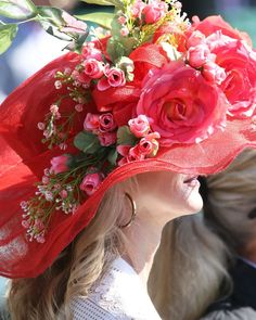 Red Kentucky Derby Hat covered in roses for the annual horse racing event at Churchill Downs Churchill Downs, Kentucky Derby Hats, Derby Party, Horse Racing, Inspiration, Instagram, Roses, Biblical Inspiration, Pink