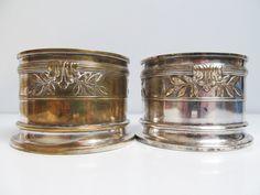 Two vintage Silver plate wine bottle holder, bottle holder, silver Metal…