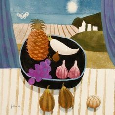 Still life with pineapple and butterfly - Mary Fedden