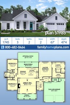 New Country House Design - Home Plan 51985 has a Open Layout and Split Bedro. New Country House Design - Home Plan 51985 has a Open Layout and Split Bedrooms, Two Car Garage Garage House Plans, Ranch House Plans, Craftsman House Plans, New House Plans, Dream House Plans, Small House Plans, House Plans One Story, Car Garage, Dream Houses