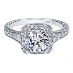 18K White Gold Vintage Pave Halo Engagement Ring Wedding Day Diamonds