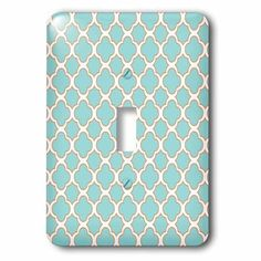 3dRose Quatrefoil Pattern Turquoise Blue and White with Orange Accent, Single Toggle Switch