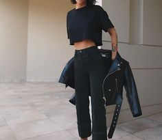My Outfit, Outfit Ideas, All Black, Black And White, Free Time, Tomboy, Workwear, Minimalism, Personal Style