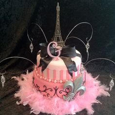 Paris themed Birthday cake//for my daughter's Sweet 16 :)