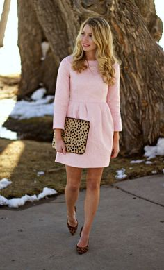 03 a blush mini dress with leopard heels and a clutch - Styleoholic