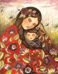 Mother and child in red quilt by Claudia Tremblay Bel Art, Claudia Tremblay, Art Amour, Mother Art, Madonna And Child, Canvas Prints, Art Prints, Mexican Art, Art Design