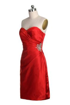 Fashion Sweetheart Neck Ruched Beads Knee Length Bridesmaid Dress by mori lee-affairs-style-184