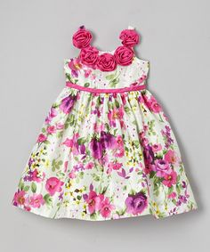 Loving this Fuchsia Rosette Floral Dress - Toddler & Girls on #zulily! #zulilyfinds