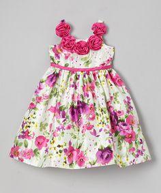 This Fuchsia Rosette Floral Dress - Toddler & Girls is perfect! #zulilyfinds