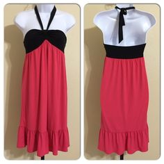 LOFT Halter Dress Size 2 Ann Taylor LOFT Size 2 Pink & Black Colors Halter Strap Side Zip Ruffled Bottom Machine Washable 96% Polyester 4% Spandex Bust Fully Relaxed Elastic.                                     Top Approx. 28 Inches Waist Approx. 34 Inches Length Of Body No Strap Approx. 30 Inches MSRP $ 59.00 New With Tags LOFT Dresses