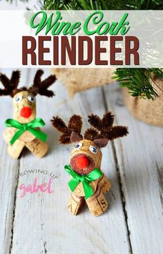 Click now and learn how to make wine cork reindeer! Old or new wine corks are cut and glued to make a DIY Christmas craft to use as a decoration or ornament. Great for Kids! #winecorkcrafts #christmascrafts #reindeerlove