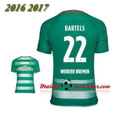 Les Nouveaux Maillot Werder Breme BARTELS 22 Domicile Vert 2016 2017: fr-moinscher