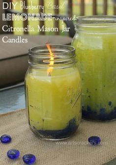 Homemade Natural Multi Color Citronella Candles using Essential Oils--Blueberry Basil Lemonade-inspired (and scented!)-mosquito and fly repellent