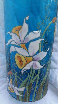 """RARE vase cylindre bleu de chine verre émaillé """"Compiègne """" LEGRAS décor relief"""