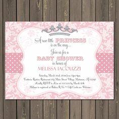 Esta invitación de ducha baby princesa Damasco rosa imprimible con corona de cinta y gris de lunares es perfecto para el próximo nacimiento de una nueva niña bebé. Por favor seleccione la opción imprimir o imprimibles y proporcionar los datos de su partido en la sección de notas al