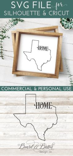 "TX Texas State Outline SVG ""Home"" - Cut file for Silhouette & Cricut cutting machines. Includes DXF, EPS, and PNG files as well as small business commercial license. Silhouette Curio, Silhouette Vinyl, Silhouette Cameo Projects, Silhouette School Blog, Sign Maker, State Outline, Stencil Painting, Rock Painting, Svg Files For Cricut"