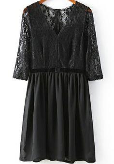Black V Neck Lace Embroidered Pleated Chiffon Dress - Sheinside.com