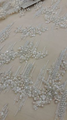 long piece OFF - Ivory lace fabric,beaded luxury lace fabric,hand beaded high quality ivory French, sold by the yard Zardozi Embroidery, Pearl Embroidery, Tambour Embroidery, Bead Embroidery Patterns, Hand Work Embroidery, Couture Embroidery, Embroidery Fabric, Embroidery Fashion, Lace Patterns