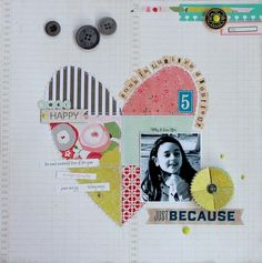 """#papercraft #scrapbook #layout  Layout by Scrapaladine pinned from """"Hand Made With LOVE"""""""