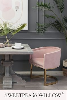 The Penelope Dining Chair will add a pop of colour and personality to your dining area. Compromising a sleek and polished gold frame, the soft pink tone of the upholstery makes the gold that little bit extra complimentary. Brighten up the spaces in your home with this fabulous piece! #sweetpeaandwillow #velvetdiningchair #pinkvelvet #moderndiningroom Upholstered Furniture, Upholstered Dining Chairs, Sutton House, Sweetpea And Willow, Dining Area, Dining Room, Willow Furniture, Salon Interior Design, Pink Home Decor