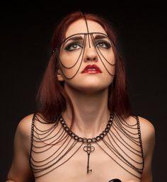 Simple Chain Headdress (black) Key Costume LARP Adult Accessory Metal Jewelry Fashion Fantasy Goth Industrial Punk
