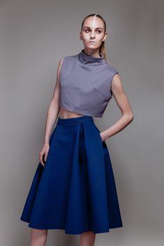 Scuba grey croptop  Neoprene navy Mid Skirt