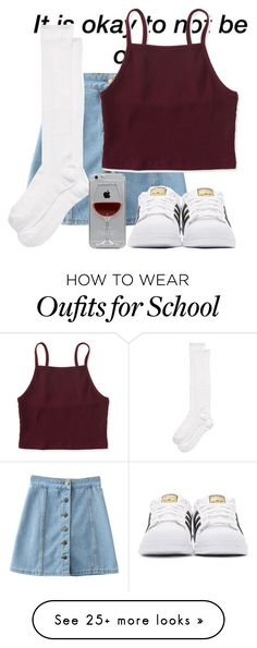 """""""Today was the Last day of school!!!!!!!"""" by mickey733 on Polyvore featuring Kate Spade, Aéropostale, adidas Originals and Reyes"""