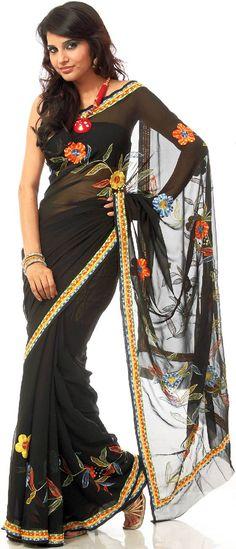 Indian Sari shop | One of the new Sari Styles representing the latest Saree Fasion