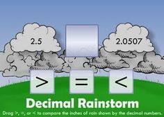 Read, write, and compare decimals to thousandths. Great interactive game for a center to help reinforce comparing decimals. Math 5, Math Fractions, Guided Math, Fun Math, Teaching 5th Grade, Fifth Grade Math, Teaching Math, Fourth Grade, Creative Teaching