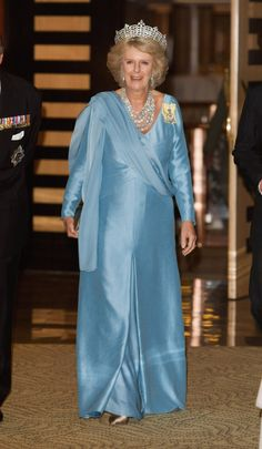 Camilla Parker-Bowles' Style Evolution: From Prince Charles' Famous 'Other Woman' To Duchess Of Cornwall (PHOTOS) ((what a frump)) Princess Charlotte, Princess Of Wales, Camilla Duchess Of Cornwall, Gala Gowns, Prince Charles And Camilla, Camilla Parker Bowles, Royal Prince, Blue Gown, Queen Elizabeth Ii