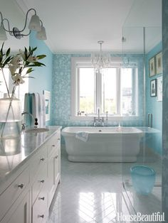 Miles Redd Brooklyn Townhouse - Colorful Townhouse - House Beautiful - We love this colour of blue! What a great colour for a bathroom - bathroom, bathroom decor, paint, interior, interior design Bad Inspiration, Bathroom Inspiration, Bathroom Colors, White Bathroom, Master Bathroom, Bathroom Ideas, Serene Bathroom, Turquoise Bathroom, Narrow Bathroom