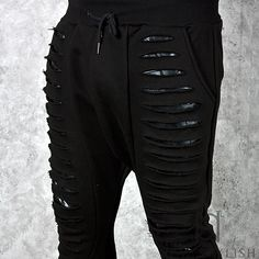 ★SOLD-OUT★ Multiple laser cutting accent black sweatpants - 221 - NSIE NewStylish