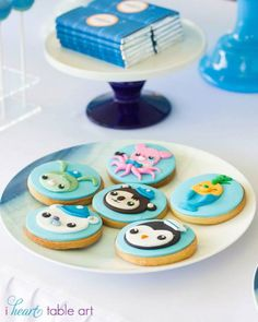 Octonauts themed birthday party with Such Cute Ideas via Kara's Party Ideas | Character cookies.