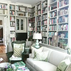 Wonderful home library with floor-to-ceiling bookcases - Jan Roden, And George