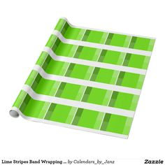 Lime Stripes Band Wrapping Paper by Janz