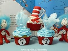 Dr. Seuss- The Cat in the Hat, Thing 1 & Thing 2 Cotton Candy Flavored Cupcakes
