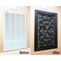 Pretty Up that intake vent - Found it! The picture above is a real vent cover that costs hundreds. Here's a link to the actual DIY project. Tami used a DOOR MAT to get the look! http://tamicurbalert.blogsp... and here's another one that did the same thing: http://debbie-debbiedoos.bl...
