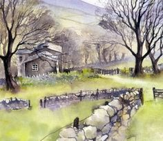 Farm in Littondale, Yorkshire Dales Watercolor Painting Techniques, Watercolor Canvas, Watercolour Painting, Landscape Art, Landscape Paintings, Art Tutor, Pen And Wash, Country Scenes, Yorkshire Dales