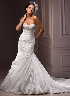 A-line Sleeveless Taffeta Floor-length bridal gown