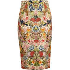 ALEXANDER MCQUEEN Floral Printed Cotton and Silk Pencil Skirt (£765) ❤ liked on Polyvore featuring skirts, bottoms, saia, alexander mcqueen, floral pencil skirt, floral knee length skirt, floral skirt, floral print pencil skirt and colorful pencil skirt