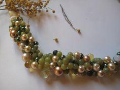 Handmade Beach wedding colors combination ,pearl ,crystal,semi precious stone necklace...Brides,Bridesmaids,   $40.00 usd