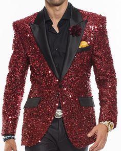 Sequin Blazer for Men, Men's Fashion Blazers, Red Prom Suits Mens Fashion Blazer, Mens Fashion Wear, Suit Fashion, Fashion Shoes, Fashion Accessories, Fashion 101, Fashion Ideas, Fashion Trends, Sequin Blazer